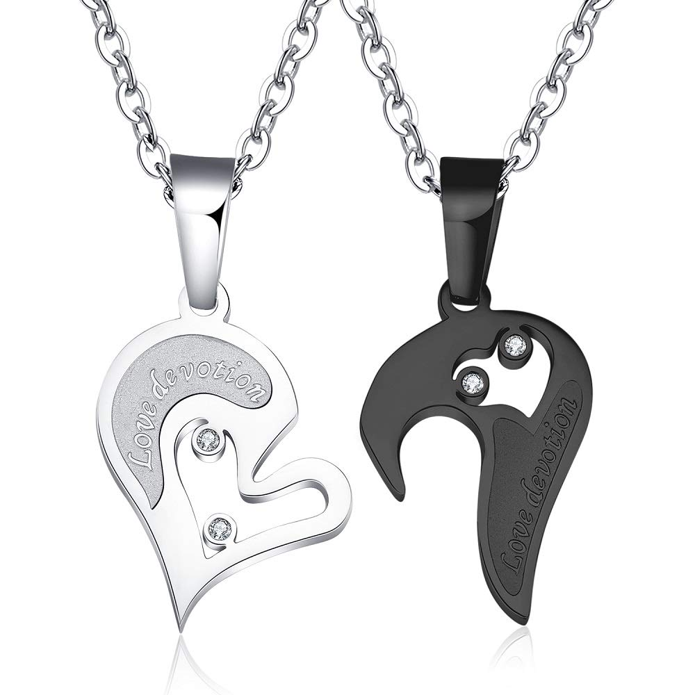 af92f59880 Amazon.com: Changgaijewelry Cute Couple Matching Necklaces for Him and Her  Stainess Steel Necklace Love Heart Shape CZ Puzzle Chain: Jewelry