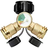 DOZYANT Propane Splitter, Propane Tank Y Splitter Adapter with Gauge, 2 Way LP Gas Adapter Tee Connector for 20lb…