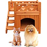 Qinghongkeen 2-Story Wooden Dog House,Pet Cat & Dog Wooden House Living House Kennel with Balcony,Pet Wood Pet House,Cat Hous