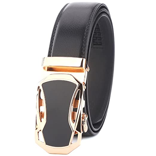 6a7fd532380f Amazon.com  Deronweer Mens Ratchet Slide Belts Leather Automatic ...