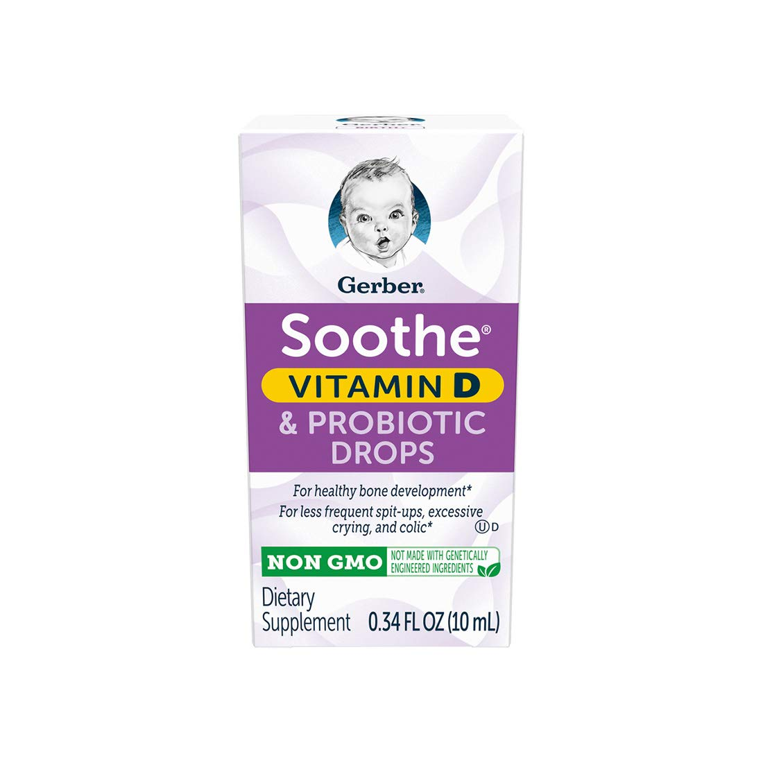 Gerber Soothe Baby Probiotic Drops with 100% Daily Vitamin D For Newborns, Infants, Babies and Toddlers, Colic, Spit-Up and Digestive Health, Clinically Proven, 0.34 fl oz by Gerber