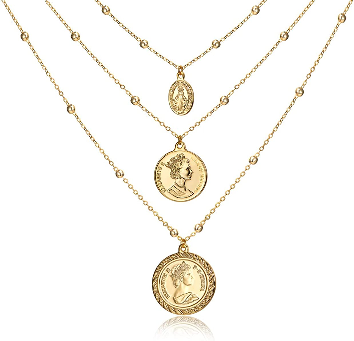 Coin Pendant Necklace 18K Gold Plated Queen Elizabeth (Both Sides Different Prints) Coin Station Chain Stylish Vintage Mother's Day Valentine's Day Couples Special Gifts Layered Necklace Jewelry for Women Her