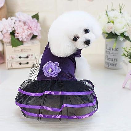 LHY Pequeño Perro Vestido de niña, Vestido de Mascotas Princesa de ...