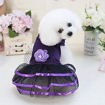 LHY Pequeño Perro Vestido de niña, Vestido de Mascotas Princesa de Encaje, Vestidos de