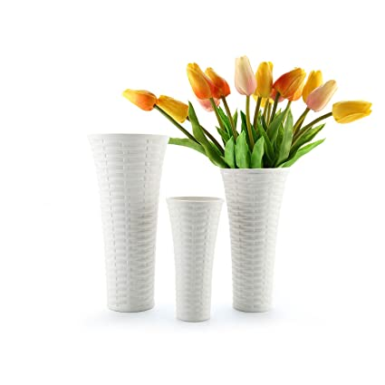 Amazon T4u White Vases For Decor Ceramic Set Of 3 Porcelain