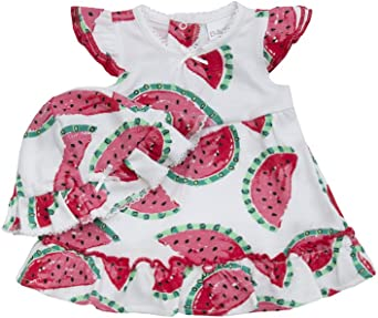 BABY TOWN Babytown Baby Girls Pretty Cotton Jersey Bodysuit Dress