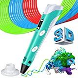 3D Pen with LCD Screen, 3D Doodler Drawing Printing Printer Pen for 3D Drawing Modeling Arts Crafts Doodle with 1.75mm PLA Filament for Doodling, Artist, DIY, Drawing etc (Blue)