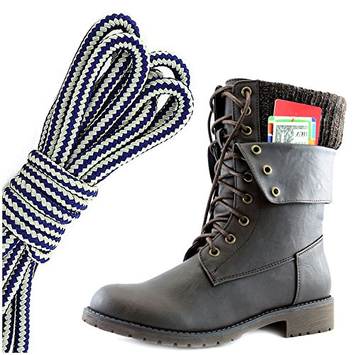 Dailyshoes Donna Militare Allacciatura Fibbia Stivali Da Combattimento Caviglia Metà Polpaccio Ripiegabile Tasca Per Carte Di Credito, Blu Navy Bianco Marrone Pu