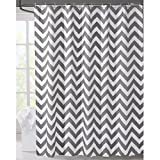 White and Grey Curtains LanMeng Geometric Fabric Shower Curtain, Grey Chevron Off White (72-by-72 inches, 1)