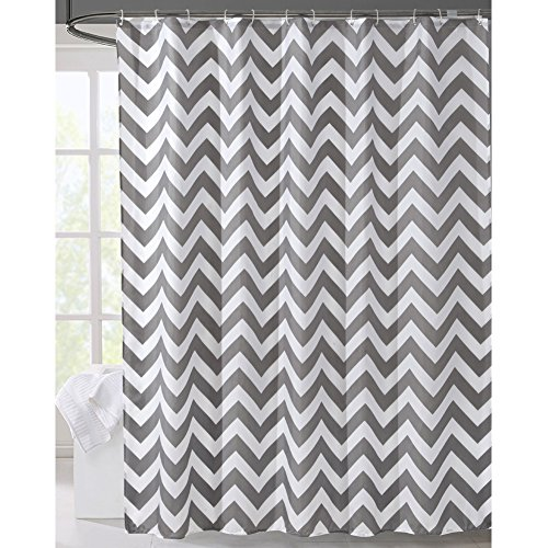 LanMeng Geometric Fabric Shower Curtain, Grey Chevron Off White (72-by-72 inches, - Water Tower Map