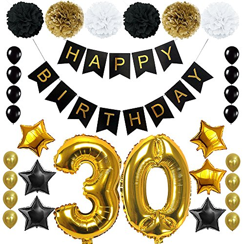 Happy 30TH Birthday Banner Ballons Set for 30 Years Old Birthday Party Decoration Supplies Gold Black (30)