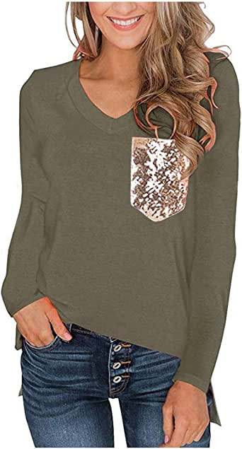 Women's Sequin Pocket Summer Tops Short Sleeves V Neck T Shirt Casual Basic Tees with Side Slits Army Green