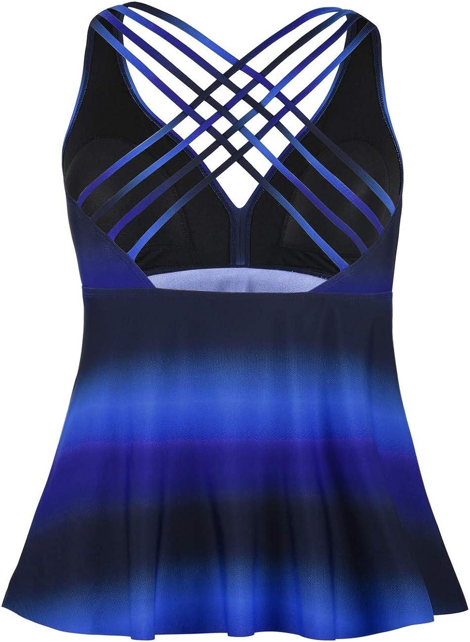 Firpearl Womens Tankini Swimsuits Cross Back Flowy Swim Tops Modest Swimwear