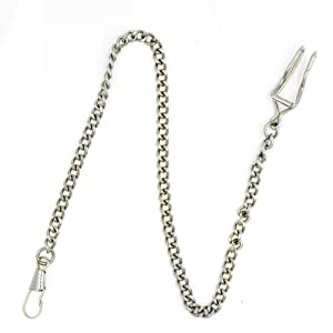 NICERIO Metal Classic Silver Plated Pocket Watch Chain key Chain,35CM(Length)