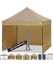 ABCCANOPY 15+Colors Commercial 10x10 Ez Pop up Canopy, Party Tent, Fair Gazebo and Roller Bag Bonus 4X Weight Bag,Beige
