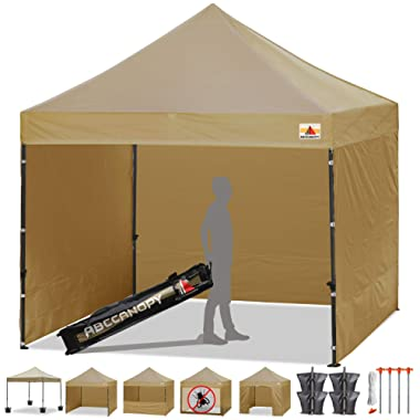 ABCCANOPY Tents Canopy Tent 10 x 10 Pop Up Canopies Commercial Tents Market stall with 6 Removable Sidewalls and Roller Bag Bonus 4 Weight Bags and 10ft Screen Netting and Half Wall,Beige