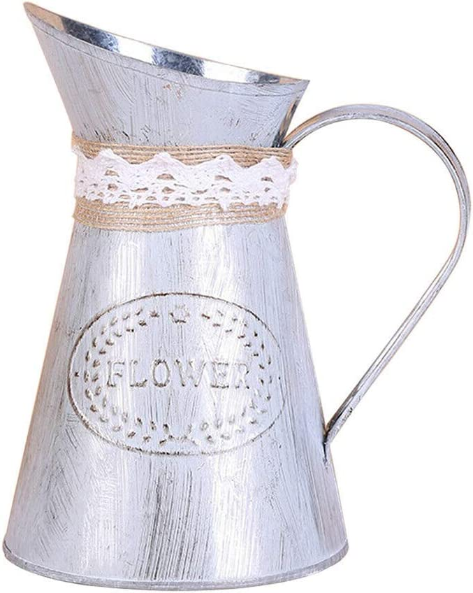 Loriver 1pcs Hoja de Hierro Vintage rústico Floral Jarra Cubo decoración regadera Herramienta