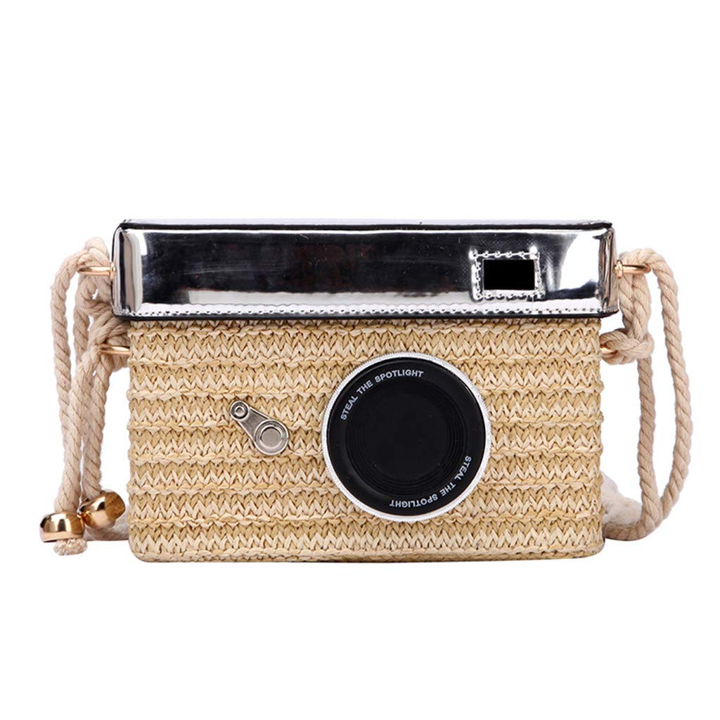 Women Straw Crossbody Bag - Girl Fashion Camera Model Handwoven Rattan Messenger Purse with Shoulder Straps - Bohemian Daypack for Beach Daily School Party (Beige)