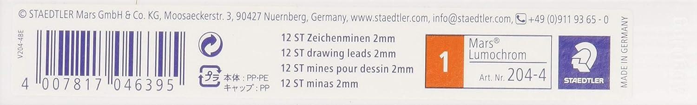 Minas de recarga para portaminas Staedtler Mars Carbon 204-5 Caja con 12 minas de color verde y graduaci/ón HB.