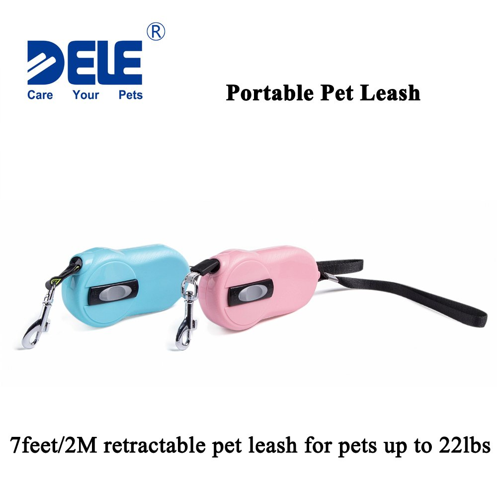 DELE Retractable Pet Leash, 7ft Pet Walking Leash for Small Pet up to 22lbs, Tangle Free, One Button Break & Lock,Mini Size And Portable (blue)