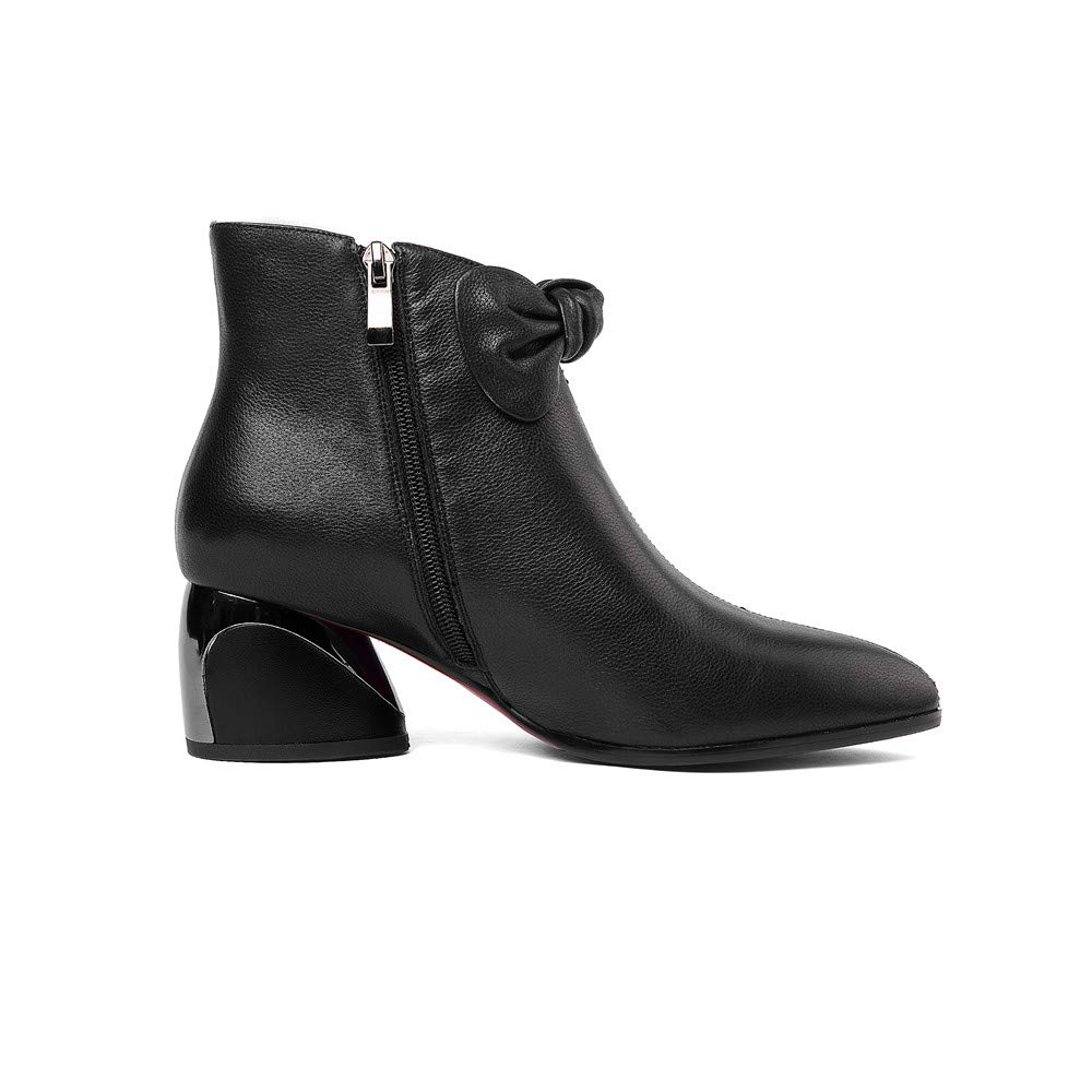 Nine Seven Womens Genuine Leather Pointed Toe Chunky Heel Handmade Glossy Comfortable Ankle Boots