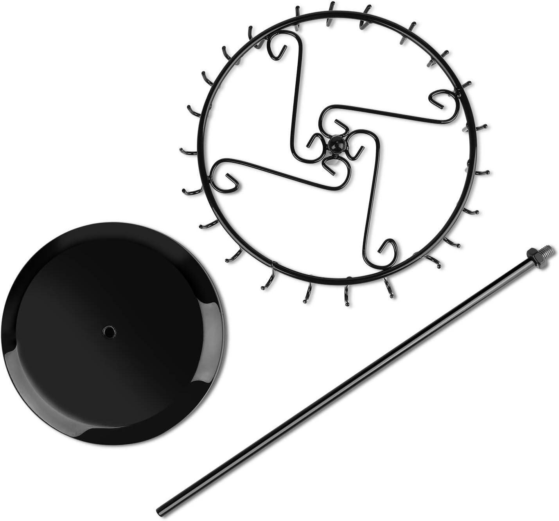 Acier Porte-cl/és Rotatif /à 360 degr/és Collier Flexzion Arbre de Rangement pour Bijoux Base Ronde//Noir 1 Tiers // 24 Hooks Cadre en Acier Support avec 24 Crochets pour Bracelet