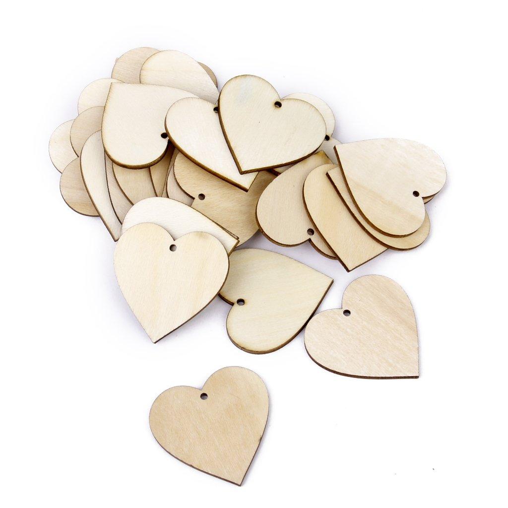 corazones de madera para decorar en color natural