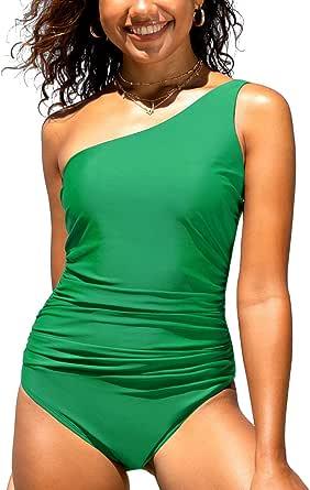 Hilor Women's One Piece Swimsuits One Shoulder Swimwear Asymmetric Ruffle Monokinis Bathing Suits