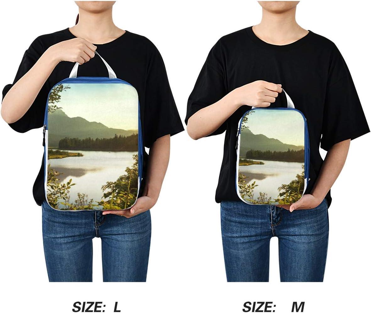e Sunset Landscape On Lake 3 Set Packing Cubes,2 Various Sizes Travel Luggage Packing Organizers