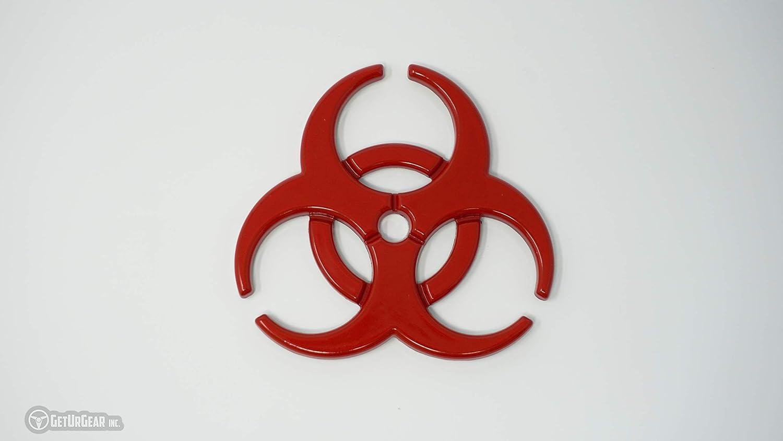 GetUrGear 2x 3D Biohazard Metal Radioactive Car Motorcycle Decal Emblem Set Red