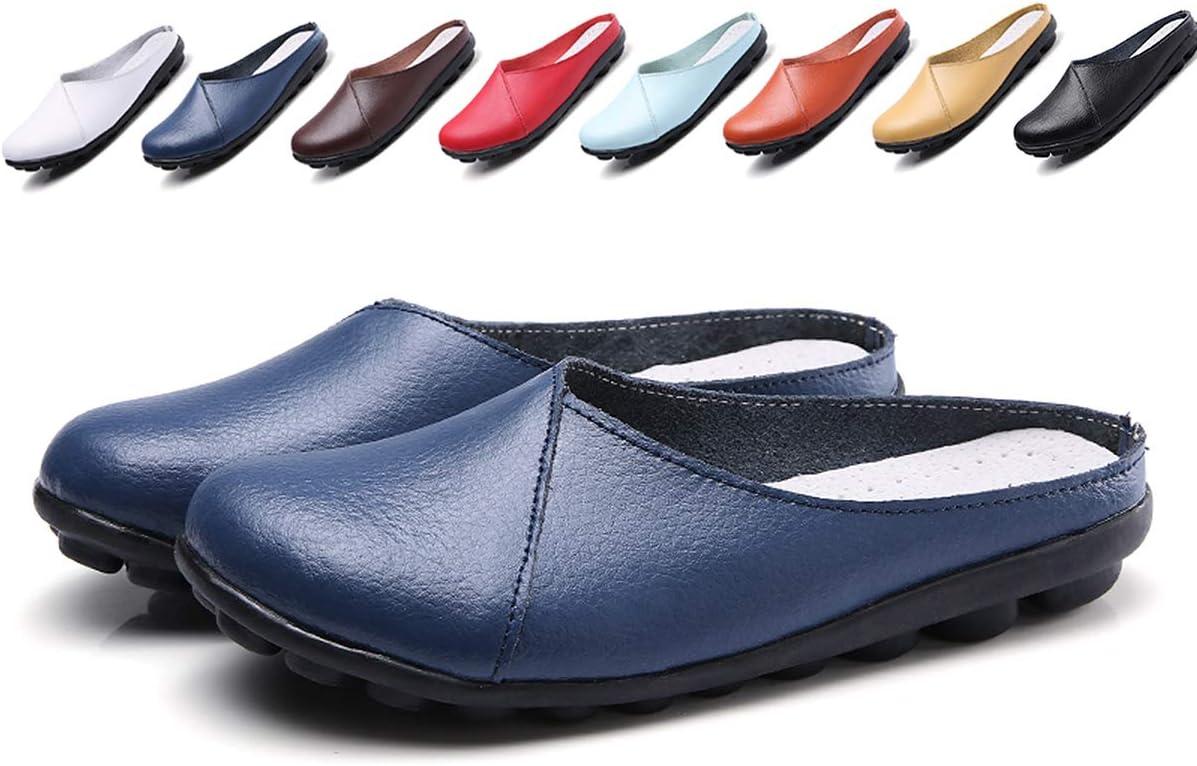 حذاء نسائي بدون رباط من الجلد بدون ظهر بدون كعب كاجوال مسطح صيفي حذاء مشي, (أزرق), 36 EU