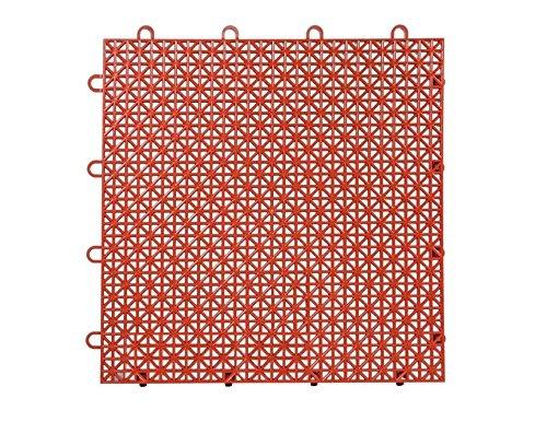 Master Mark Plastics Armadillo Interlocking Plastic Floor-Deck Tiles, Red Clay
