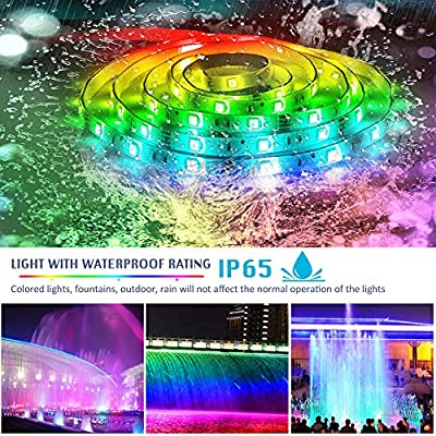 LED Strip Lights Sync to Music, KDORRKU 32.8ft Flexible 10m Self-Adhesive RGB Light Strips Remote Color Change IP65 Waterproof 300LEDs 5050 Tape Lights Neon Ribbon Room Mood Lighting 12V for Bedroom