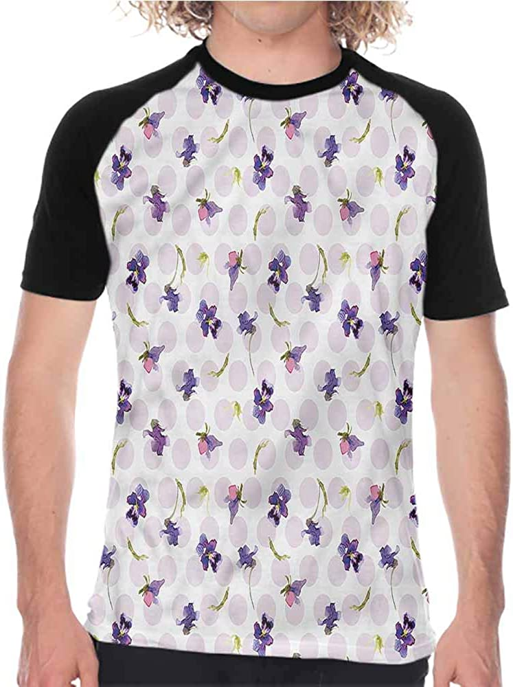 Violet,Men Summer Streetwear Swirls and Dots Doodle,Printed Short Sleeve Casual
