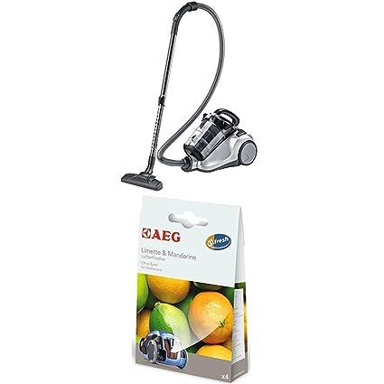 AEG LX4 Efficiency Aspiradora sin bolsa con cepillo parketto, color plata + AEG ASMA Ambientador