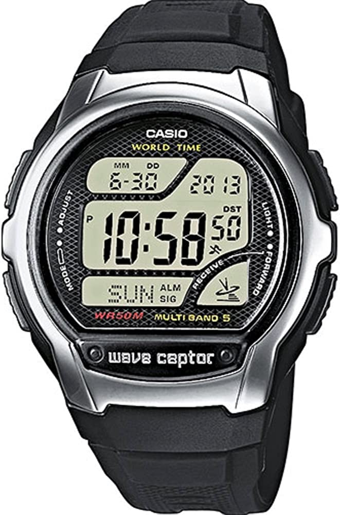 Casio WAVE CEPTOR Reloj Radiocontrolado, Negro, para Hombre, con Correa de Resina, WV-58E-1AVEF