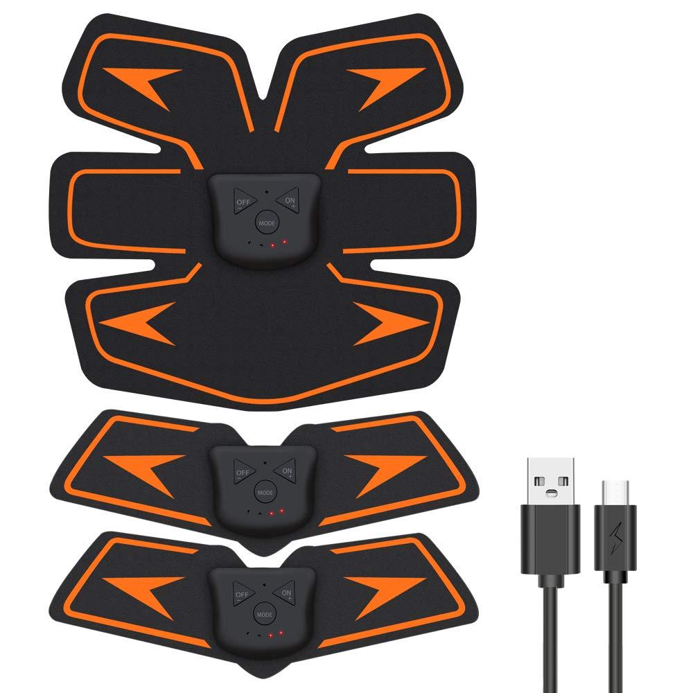 EMSIC EMS 腹筋ベルト USB充電式 腹筋 腕筋 筋トレ器具 トレーニングマシーン 「6種類モード 10段階強度 日本語説明書付属」