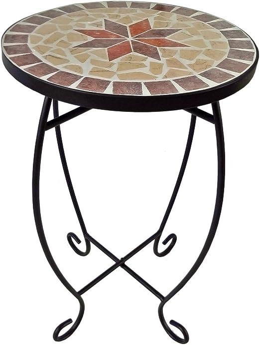 Taburete con diseño de mosaico – – Maceta mesa mesa mesa auxiliar ...