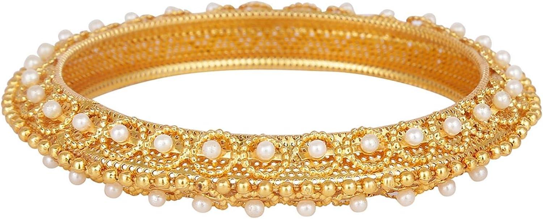 Efulgenz Fashion Jewelry Indian Bollywood 14 K Gold Plated Faux Pearl Beaded Bracelets Bridal Bangle Set for Women