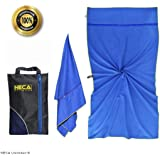 Gym Towel - 160x80 cm - 2 Large Zip Pockets -Quick Dry - Ultralight and Compact - Snap Loop - with bonus eBook & Mesh…