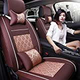 11Pcs Universal Full Surrounded Car Front&Rear Seat Covers Auto 5 Seats Cover Set Car Interior Accessories Seat Cushions for All Seasons(Coffee)