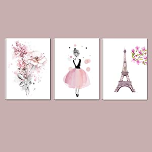 Cute Pink Ballerina Dancer Girl Prints Paris Tower Flower Canvas Art Prints for Bedroom Playroom Wall Art Decor Prints Kids Girls Room Decoration,12x16inchx3 (Pink)