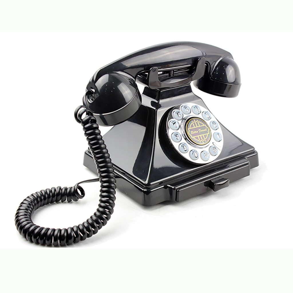 ZHILIAN Retro Telephone Landline Corded Telephone European Living Room Hotel Bedroom Phone Creative Landline Fashion Antique (Color : Black)
