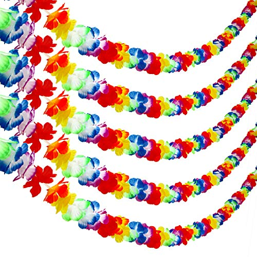 Aneco 5 Pack 20 Feet Colorful Hawaiian Luau Party Tropical Flower Lei Garland Party Decorations Hawaiian Tropical Party Supplies