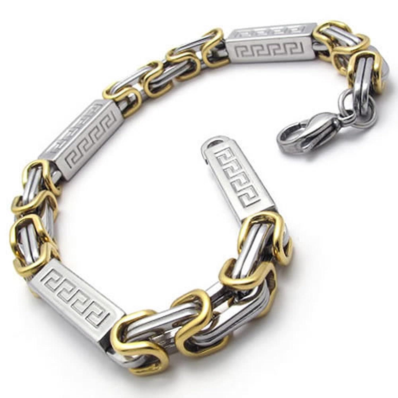 Amazon.com: KONOV Jewelry Two-Tone Stainless Steel Men\'s Bracelet ...