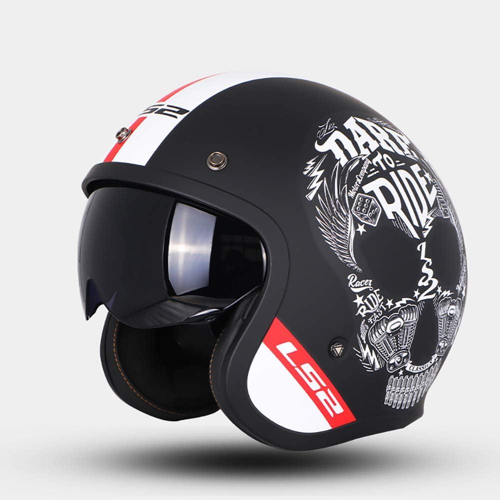 Vintage Harley Offenes Motorradhalbhelme Persönlichkeit Schädel Erwachsene Männer Frauen Rollerhelm Jet Helm Ece Genehmigt L 4xl Schwarz Weiß Sport Freizeit