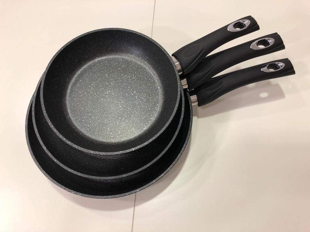 Royalty Line EUROSEDICO//Juego de 3 Sartenes//Aluminio Forjado//Recubrimiento de marmol a la Piedra//Antiadherente//induccion//vitro//Gas//para Todas Las cocinas Negro