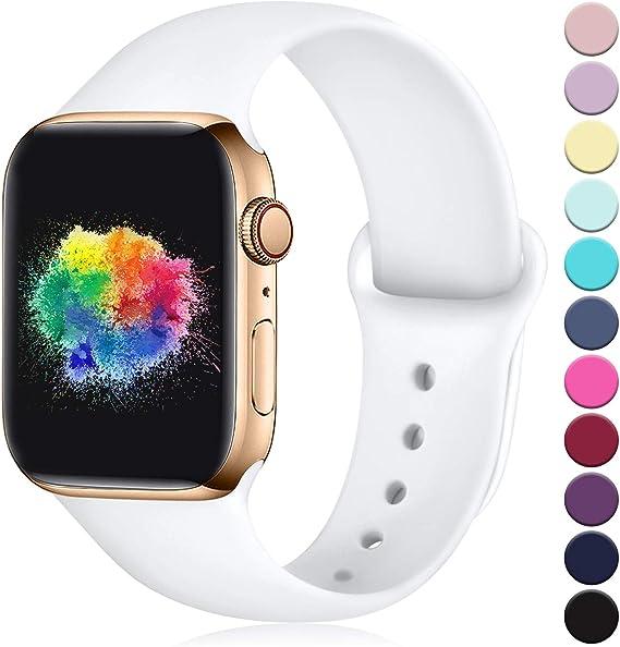 Imagen deYoumaofa Correa Compatible con Apple Watch 38mm 40mm, Correa de Silicona Repuesto Pulsera Deportivas para iWatch Series 5 Series 4 Series 3 Series 2 Series 1, 38mm/40mm M/L Blanco