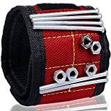 ACE Gadget – STRONG & LARGEST Magnetic Wrist band with ADJUSTABLE straps for ALL wrist size - Best Magnetic Wrist Arm Band for Holding Tools, Screws, Nails, Nuts and Bolts, Drill Bits, Screwdriver Bits, Pliers- Holds Small Metal Objects (red)