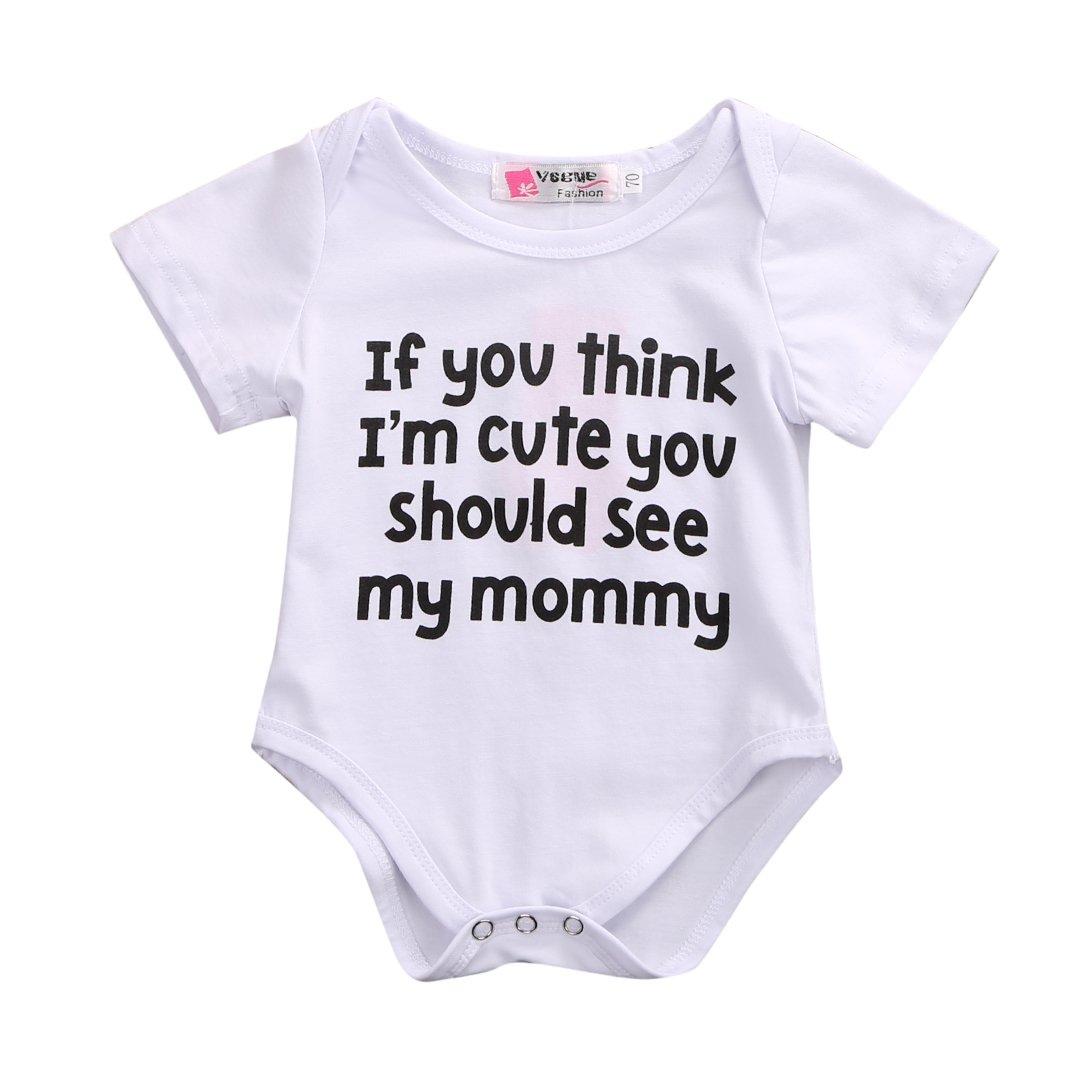 2 Styles Newborn Baby Lovely Sentence Print Short Sleeve Summer Romper Bodysuit